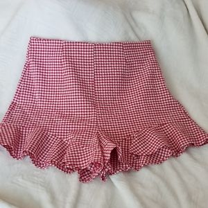 ZARA Gingham shorts red and white